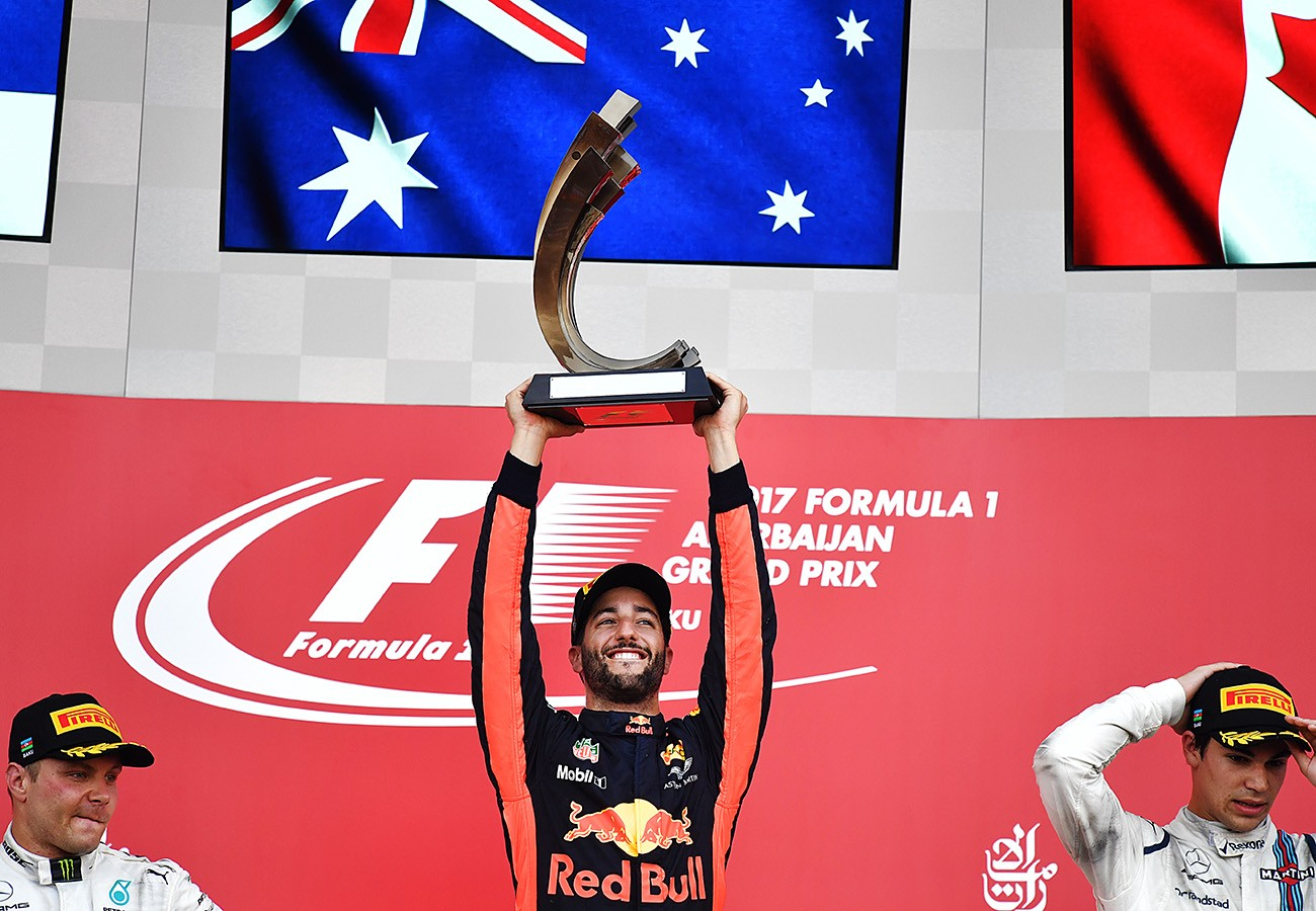 Formula One: Ricciardo wins, teenager Stroll climbs podium at 'wild and chaotic' Azerbaijan GP