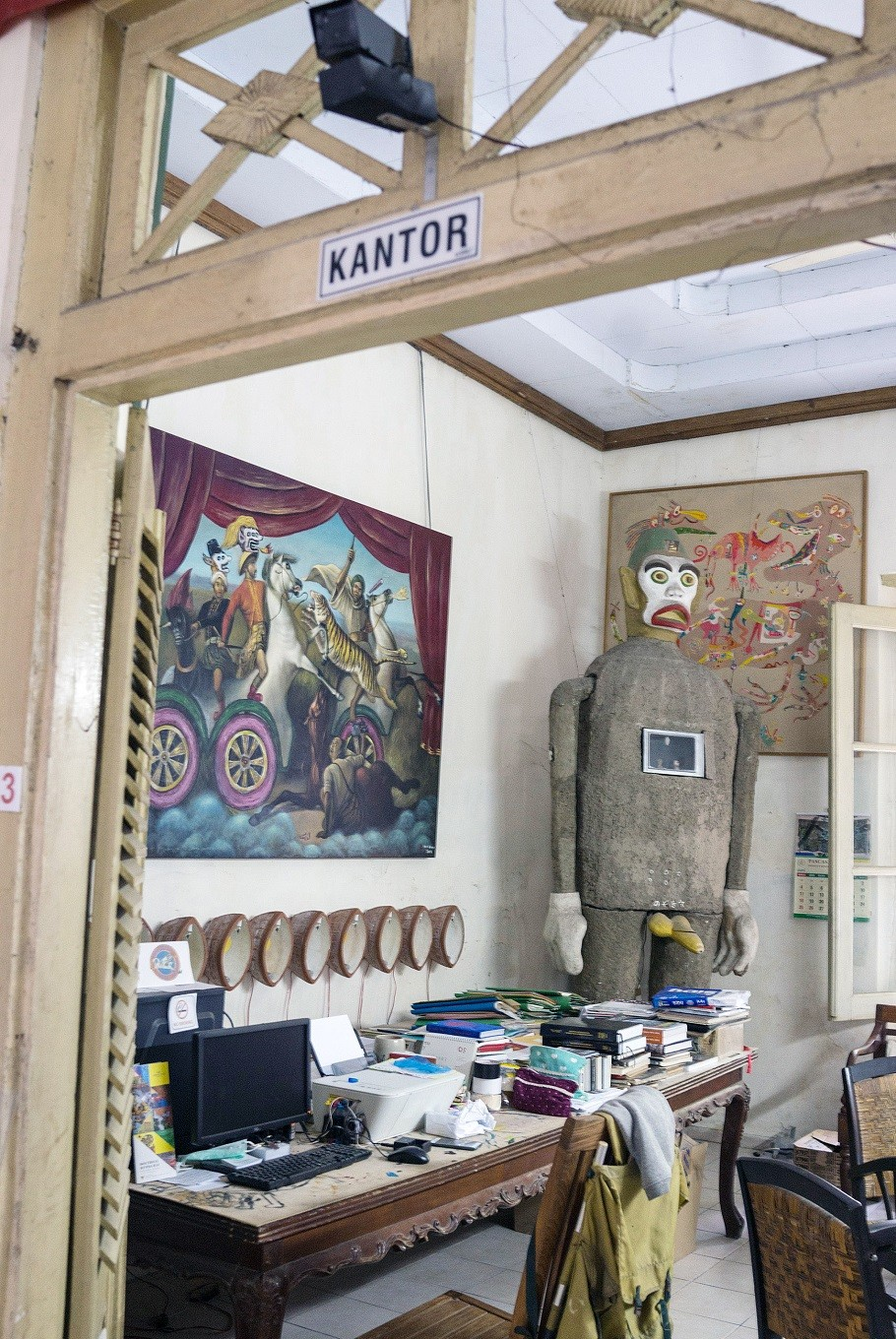 Workplace: Heri Dono's office at his Yogyakarta studio is a creative, yet functional space.