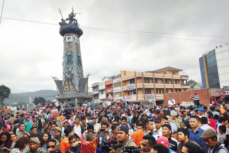 Celebration: Thousands of people attend the Flowers and Fruits Festival in Berastagi, Karo region, in North Sumatra.