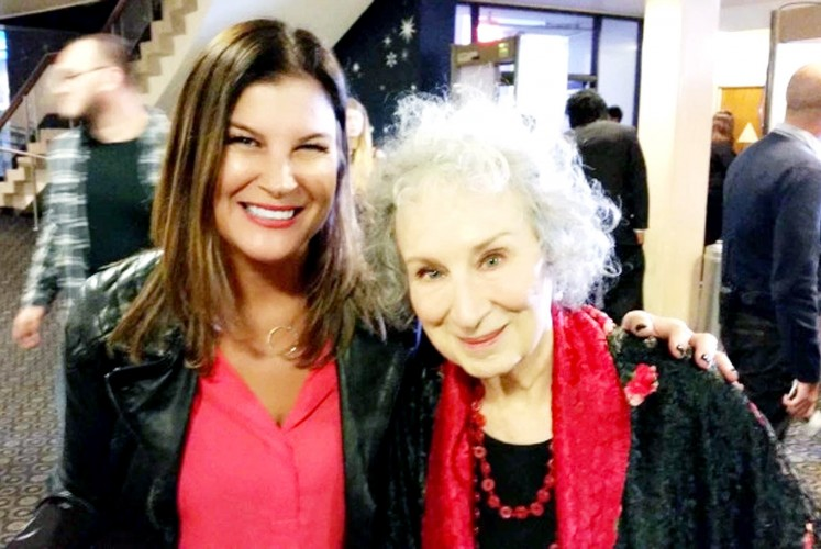 Treasured moment: Sharon Karyasa (left) poses with renowned Cannadian writer Margaret Atwood at the launch of The Handmaid's Tale.