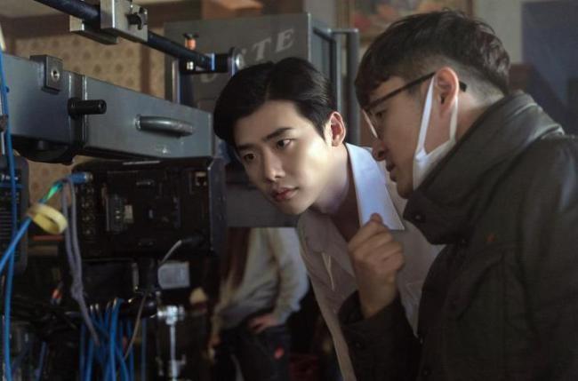 "Lee Jong-suk on the set of ""VIP""."