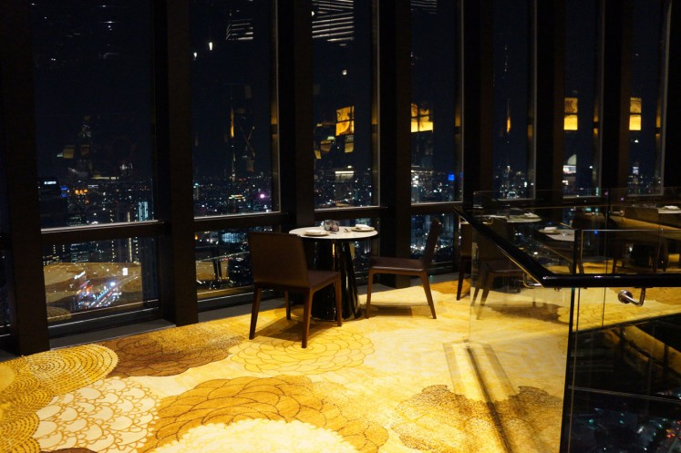 The dining area of Henshin, situated on the 68th floor of The Westin Jakarta.
