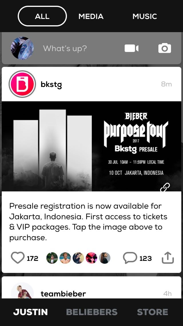 Image and information posted by Bkstg account about presale registration. This was captured by one of the fanbases of Justin Bieber in Indonesia.