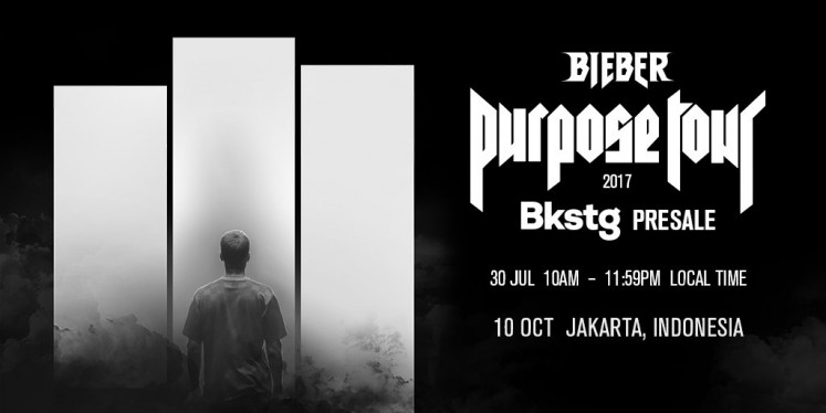 Image posted by Bkstg Twitter account before being deleted moments later, showing the concert's presale registration. It was captured by one of Bieber's Indonesian fans.