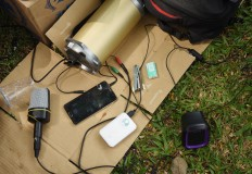 Some tools, used for radio streaming, are put on a mat during the gathering. JP/Aman Rochman