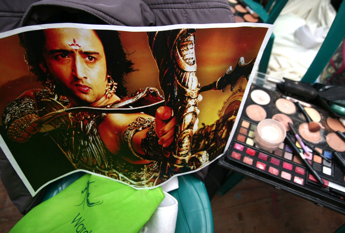 A Mahabarata movie poster is visible in the makeup room of the Gajayana Playhouse in Malang, East Java. JP/Aman Rochman