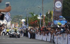 Daniel Whitehouse of Great Britain, who races for Laos CNN Cycling team, reaches the finish line of the fifth stage of the 2017 Tour de Flores on July 18, 2017. Whitehouse was last year's defending champion. JP/Markus Makur