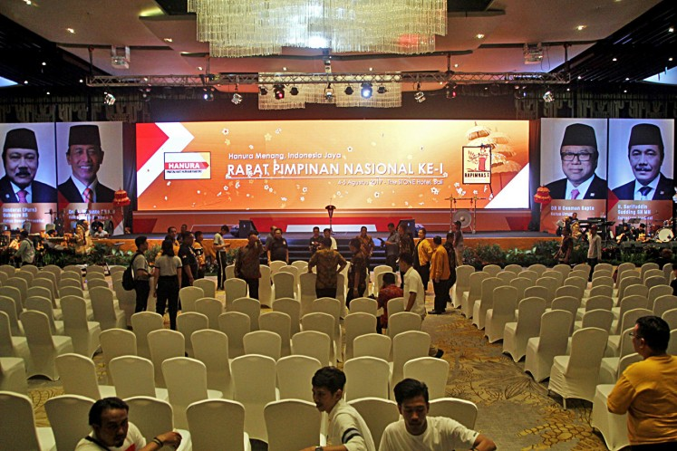 The venue of the Hanura Party's National Leadership Meeting in Kuta, Bali, on Thursday. President Joko