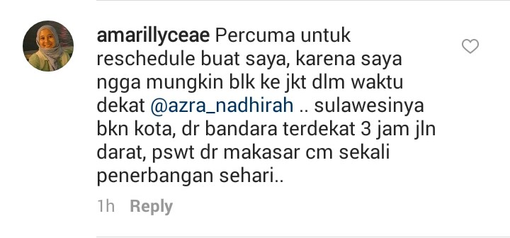 One netizen, amarillyceae, wrote, 'It's useless for me to reschedule because it won't be possible to return to Jakarta anytime soon. [I live] in Sulawesi [and it's] not in the city, from the nearest airport it takes 3 hours using land transportation [and] the airplane from Makassar only flies once a day.'