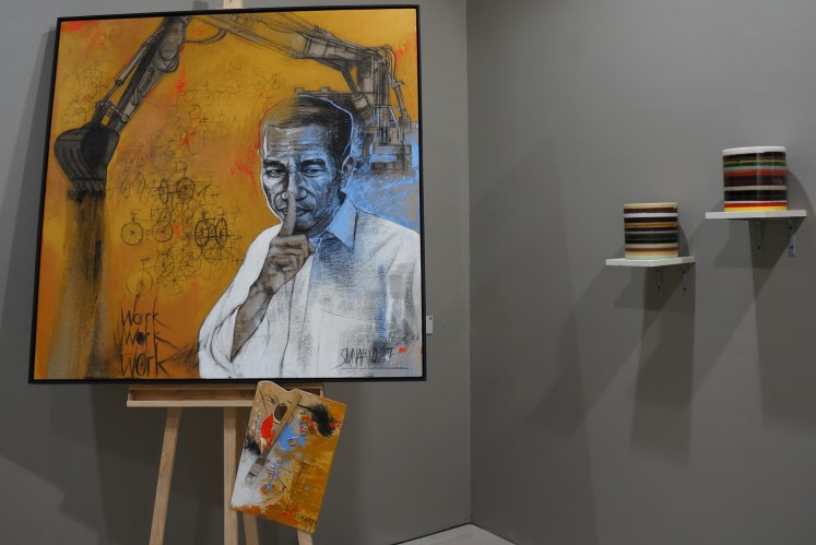 'Paintings of Fame' series by Sunaryo at the 2017 Art Stage Jakarta.