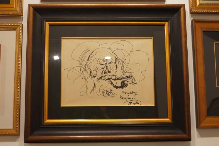 'Cangklong Kesayangan' sketch by Affandi.
