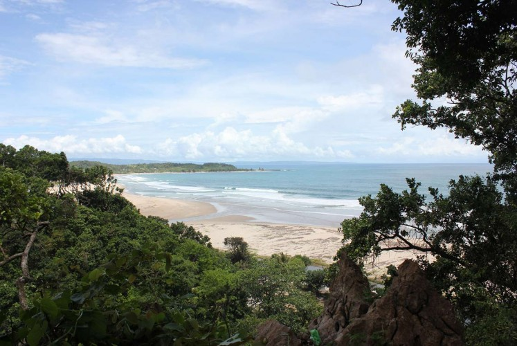 The first sight of Pasir Putih Beach as you near Sawarna while driving from Jakarta.
