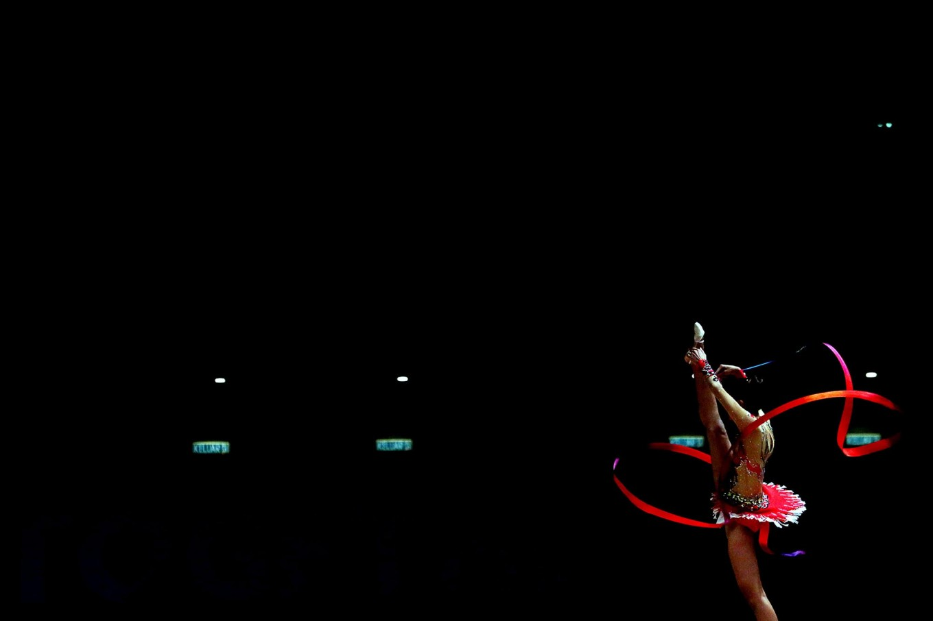 Strike a pose: Gymnast Nabila Evandestiera performs during the 29th SEA Games rhythmic gymnastics women's all-around finals. Indonesia's gymnastic team had won one gold medal, two silvers and six bronze medals as of Monday. JP/Seto Wardhana