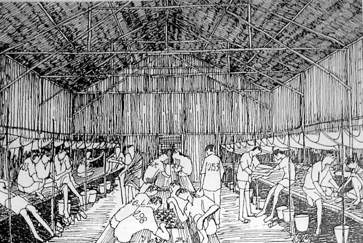 Dark period: An illustration of accommodation for political prisoners on Buru Island in the book titled Bertahan Hidup di Pulau Buru (Surviving on Buru Island).
