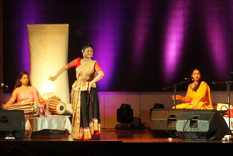 Radiating: Bhakti Deshpande (right) communicates with the audience through her dance and facial expressions.