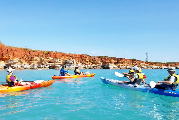 Water games: Kimberly's red earth can be clearly seen by kayakers paddling around Gantheaume Point's rocky outcrop.