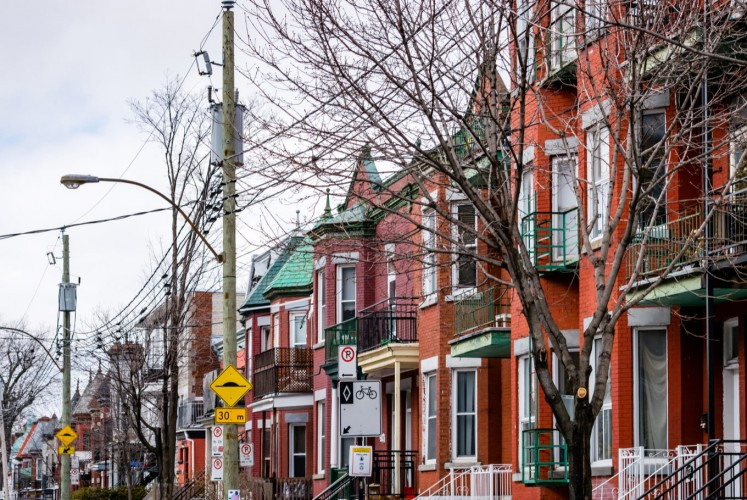 The Mile End neighborhood in Montreal, Quebec, Canada has many town houses and duplexes.