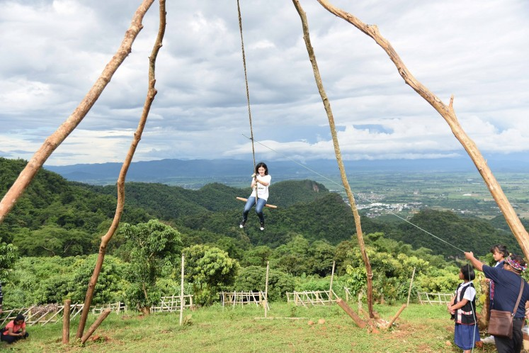 The giant swing is a central spot during Akha's New Year.