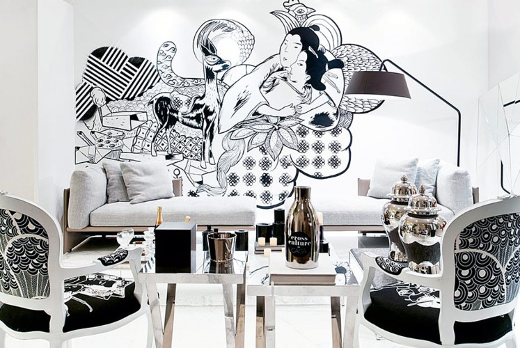 Black-and-white: Interior designer Eko Priharseno's mural for a Bravacasa exhibition.