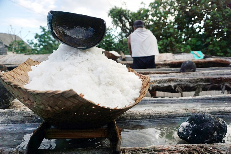 Patience required: Salt farmers from Kusamba, Klungkung regency provide interesting packages for their salt.