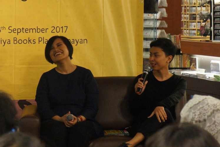 (from left to right) writer Stella Ang and illustrator Marisa Santosa.