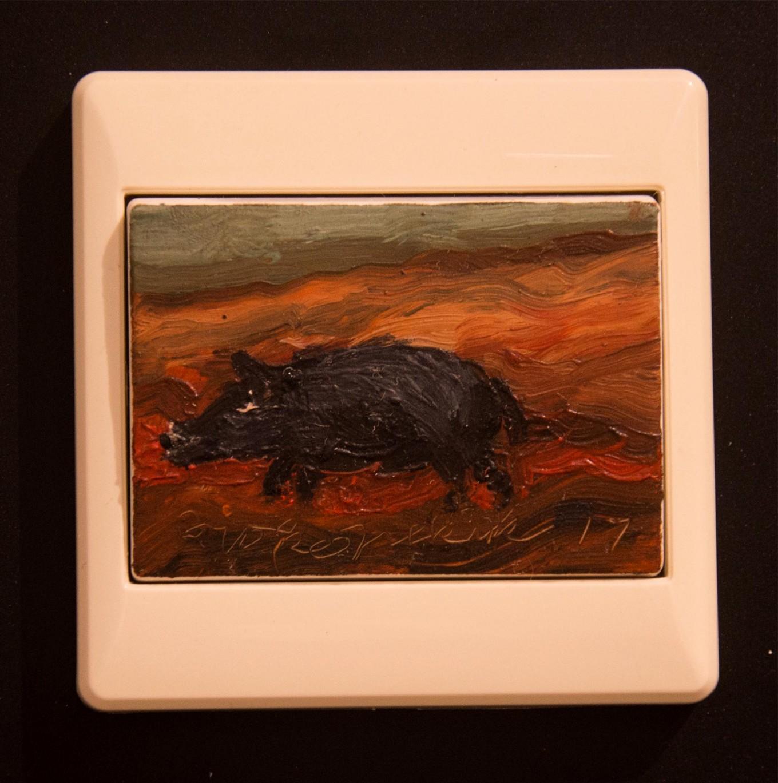 Raja Celeng (King of the Boars), a light switch  painted by renowned Indonesian painter Joko Pekik. JP/Tarko Sudiarno