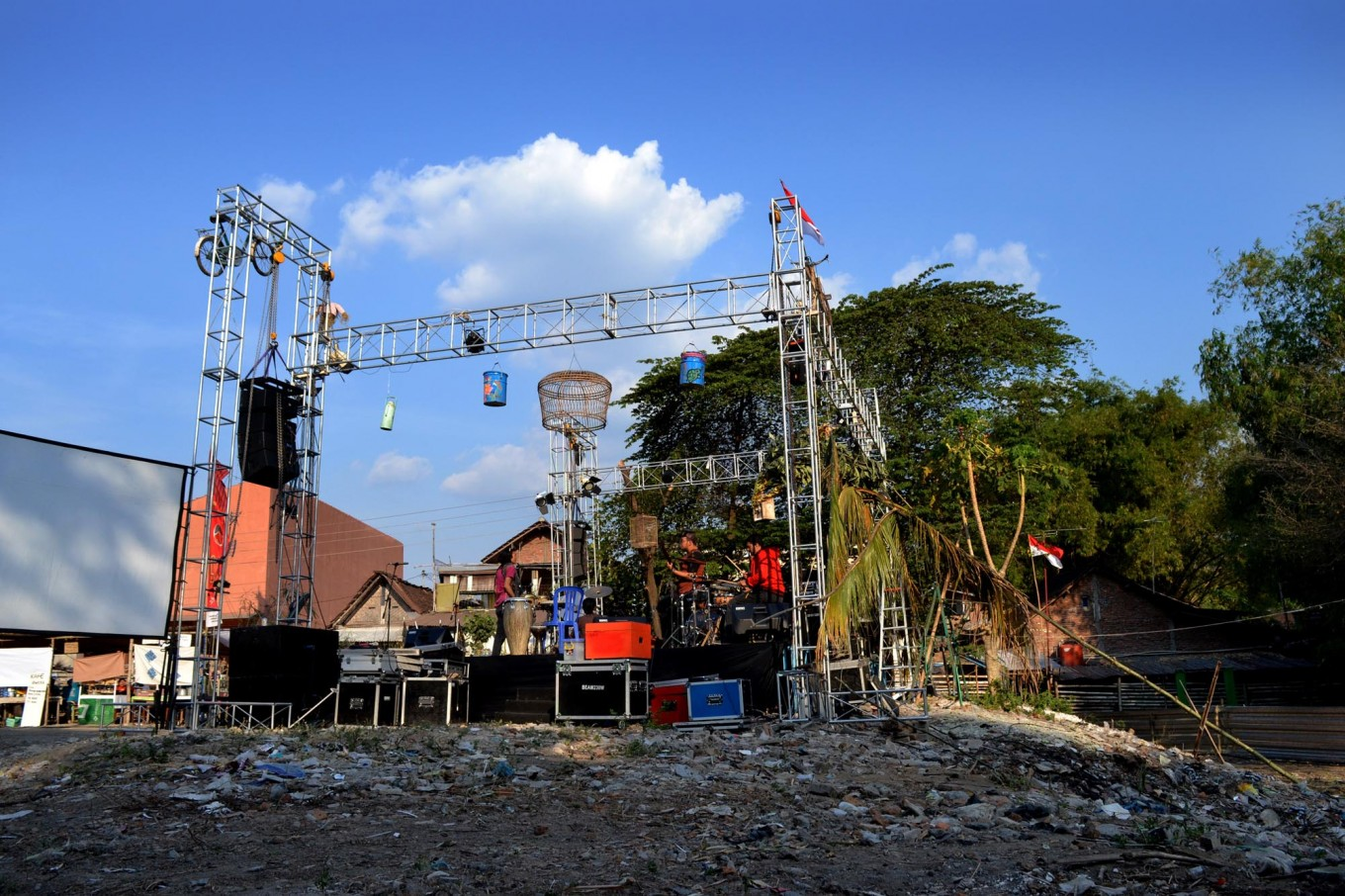 Baron Cilik's central field witnesses a stage being assembled ahead of the inaugural Jener River Festival, which was held to raise environmental awareness on conserving the river. JP/Stefanus Ajie