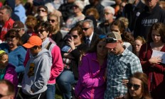 Visitors listen to speakers at the Flight 93 National Memorial on the 16th Anniversary ceremony of the September 11th terrorist attacks, September 11, 2017 in Shanksville, Pennsylvania. United Airlines Flight 93 crashed into a field outside Shanksville, PA with 40 passengers and 4 hijackers aboard on September 11, 2001.   AFP /Getty Images/Jeff Swensen