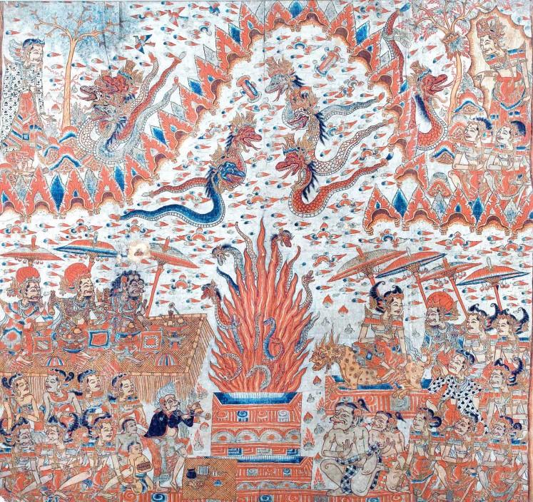 Historic: Sarpa Yadnya (the snake sacrifice) is one of the precious Kamasan-style paintings on display at the Nyoman Gunarsa Museum.