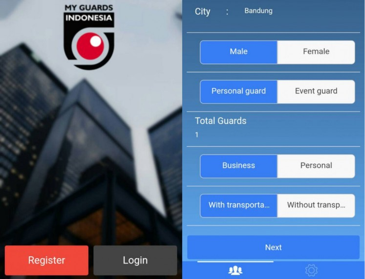 The registration and booking pages of My Guards Indonesia