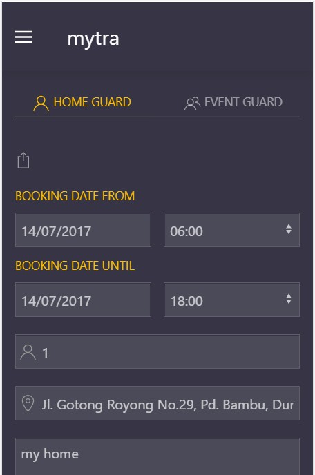 The booking page of Mytra.id app