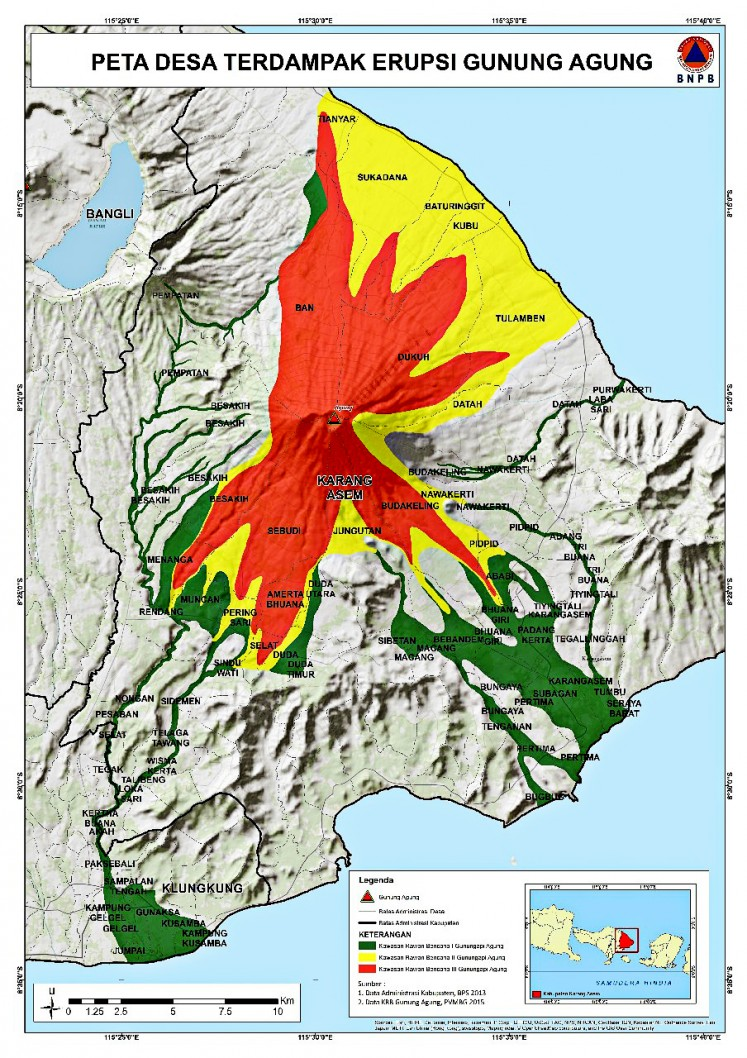 Stay alert: The National Disaster Mitigation Agency (BNPB) has released a map, which shows areas around Mount Agung, Bali, that have been closed to the public as a result of volcanic activity.