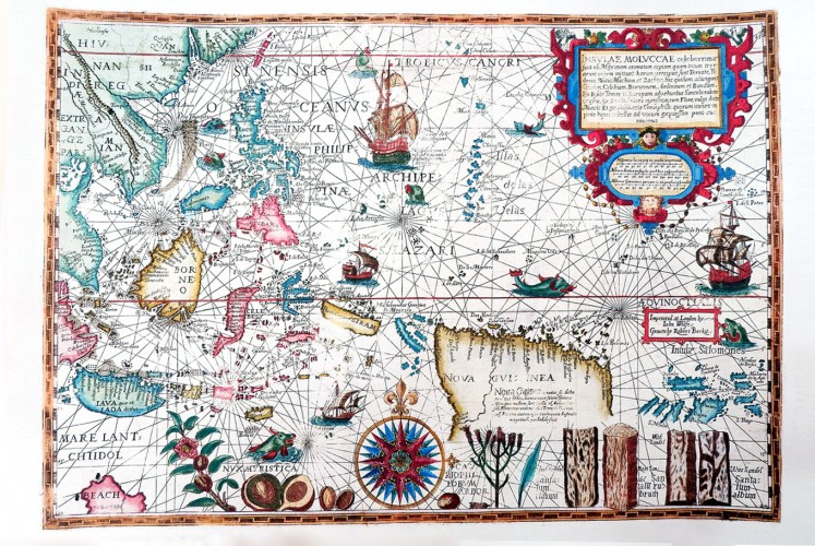 Antiquity: A copy of an antique map of Indonesia called Insulae Moluccae Celeberrimae.