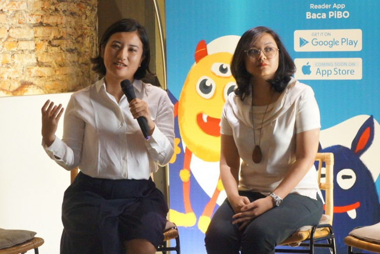 (from left to right) Founder of PiBo Mayumi Haryoto and co-founder of PiBo Aisha Habir during the official launching of online bookstore and e-reader app for children PiBo on Wednesday, Sept. 20, 2017 at Kopi Kalyan in South Jakarta.