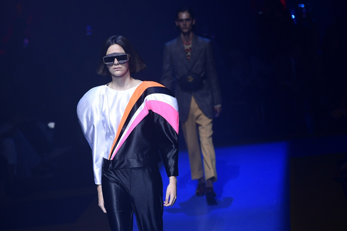 066f816c5f86 A model presents a creation for fashion house Gucci during the Men and  Women's Spring/