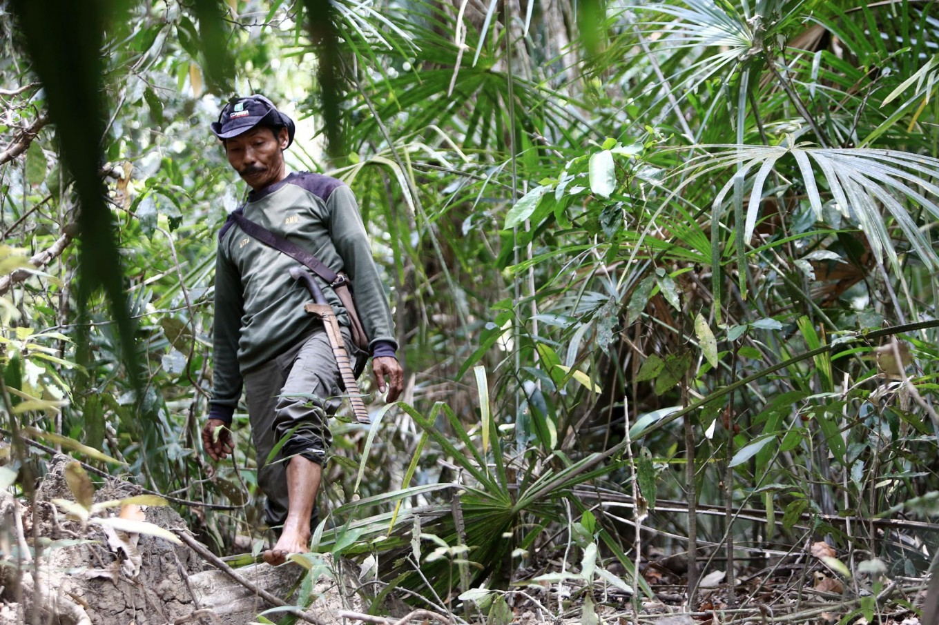 Quietly tracking: A member of the Rhino Monitoting Unit (RMU) looks for foot prints of the Javan rhinoceros in an area known as the center of the species' habitat near Cigenter River in a protected forest area. JP/Dhoni Setiawan
