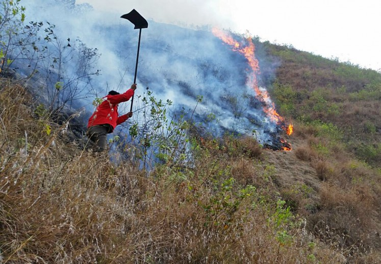 An officer from the Mount Rinjani National Park Agency tries to put out the fire burning in some areas in the park on Oct. 9. The agency said that up to 12 hectares of land in the national park had been burned.