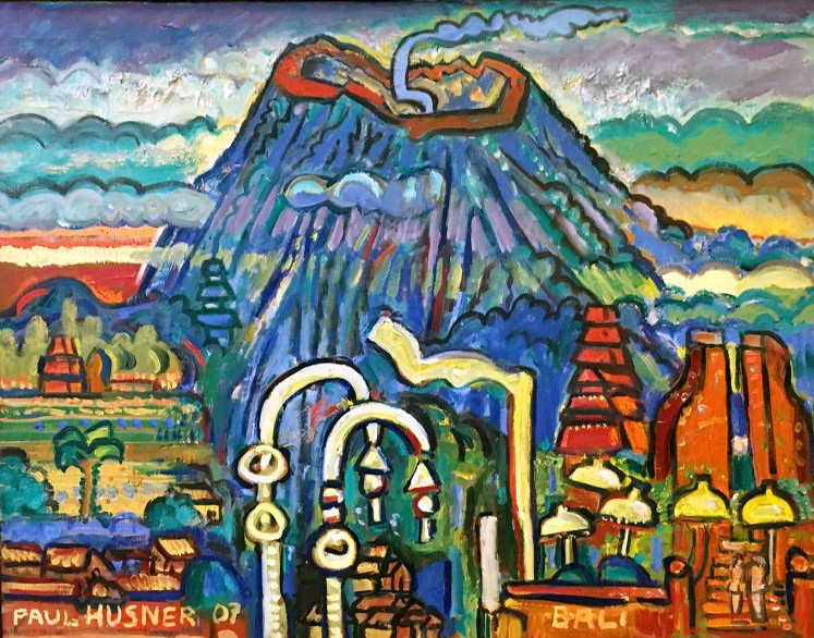 Colorful: View at the Volcano from Sidemen's Red Temples by Swiss-born artist Paul Husner. Mt. Agung is a recurring visual element in his works.