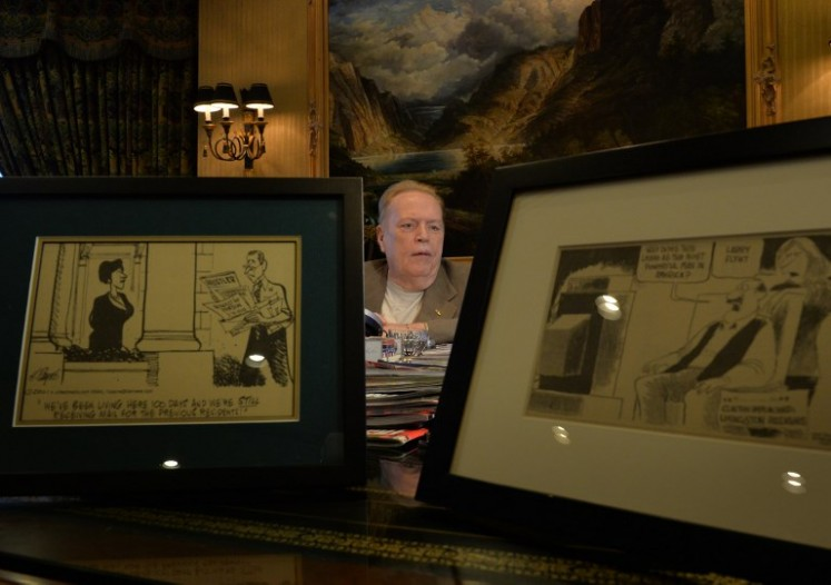 Porn mogul Larry Flynt talks about the 40th anniversary of 'Hustler' magazine at his offices in Beverly Hills,California on Aug. 26, 2014.
