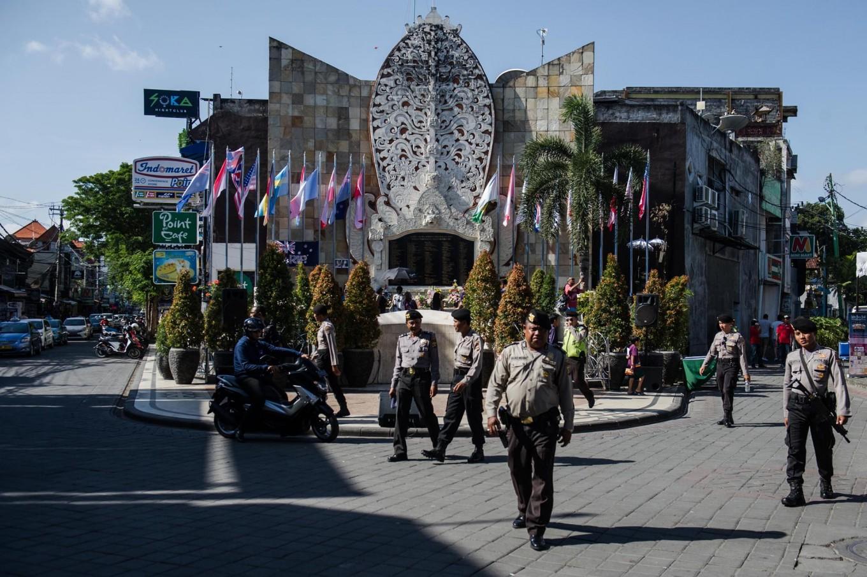 The police patrol around the Ground Zero Monument during the 15th anniversary of the Bali bombings in Kuta, Bali, on Oct. 12, 2017. JP/Anggara Mahendra