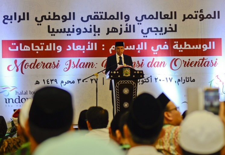 West Nusa Tenggara (NTB) Governor M Zainul Majdi delivers his opening speech during the opening of the International Conference of Al Azhar Alumni at the Islamic Center in Mataram, on Wednesday, Oct. 18, 2017. The three-day conference is themed