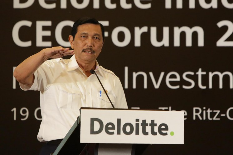 Coordinating Maritime Affairs Minister Luhut Pandjaitan speaks during a CEO Forum on Oct. 19, 2017 in this file photo.