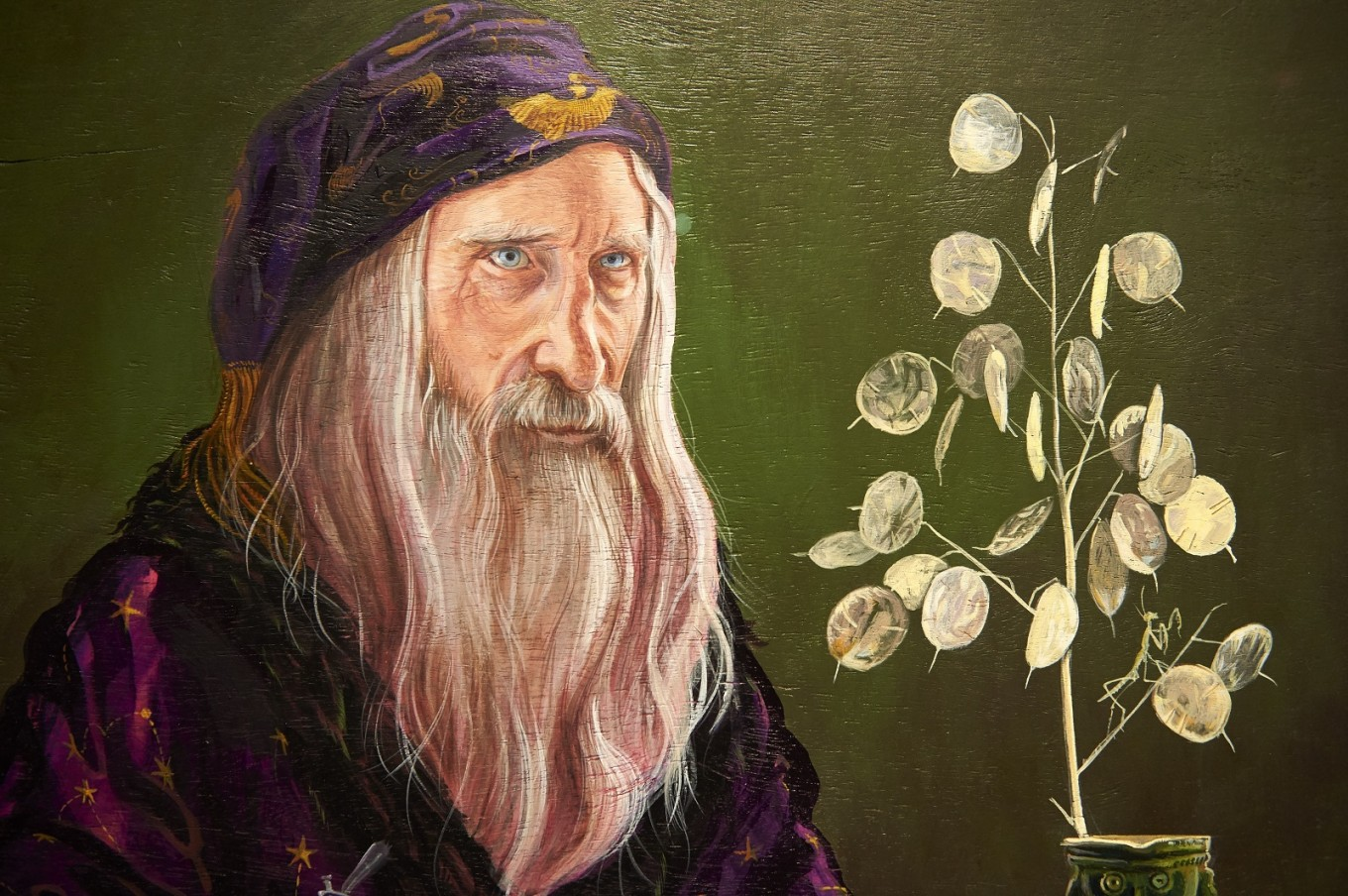 A detail of a painting of Professor Dumbledore is pictured during a preview of 'Harry Potter: A History of Magic' exhibition at the British Library, in central London on October 18, 2017, marking the twentieth anniversary of the publication of Harry Potter and the Philosopher's Stone.