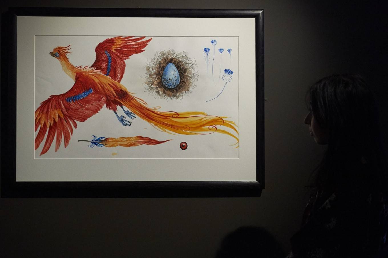 An exhibition curator stands next to an illustration of Fawkes the Phoenix.