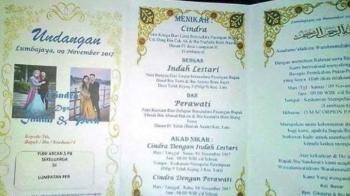 The invitation shows that Cindra is to marry two women, Indah Lestari and Perawati.