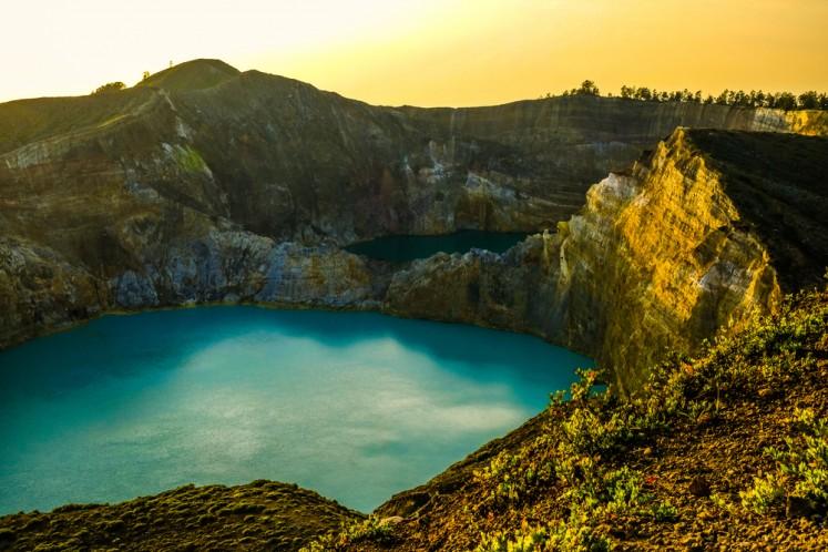 Morning sun shining on Kelimutu volcano on Flores Island, East Nusa Tenggara.