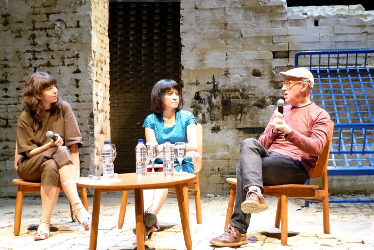 Listen up: Brazilian Veronica Stigger (left), Feby Indirani (center) and Argentinean Sergio Chejfec talk about Latin American literature at the Salihara Theater in Jakarta.