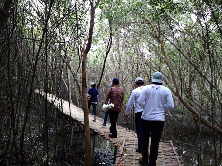 Protecting the ecosystem: Researchers from the Environment and Forestry Ministry pass through the Karangsong mangrove forest in Indramayu, West Java, on Oct.28.