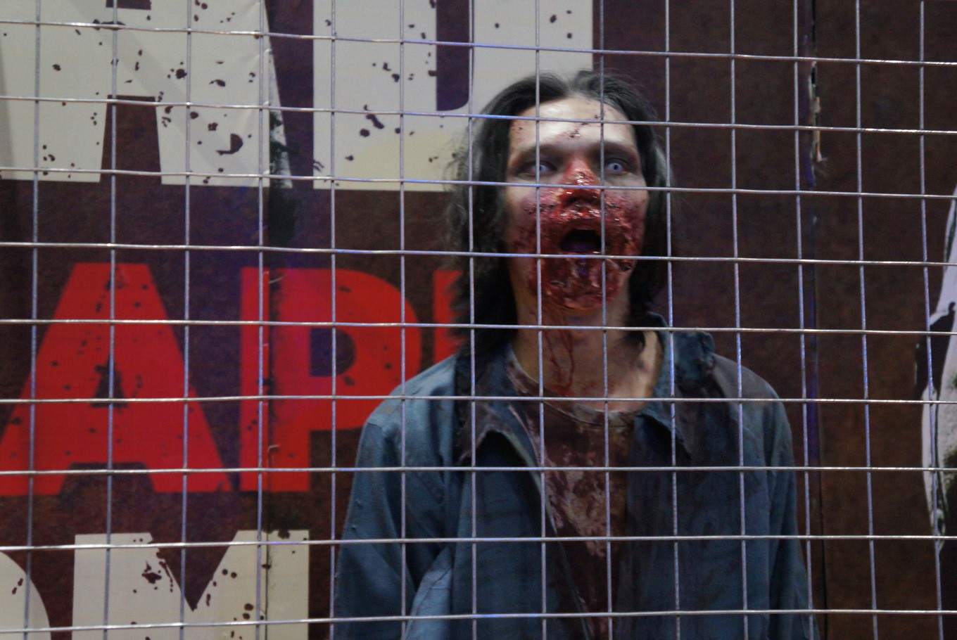 A Zombie from 'The Walking Dead Escape Room' at the 2017 Indonesia Comic Con.