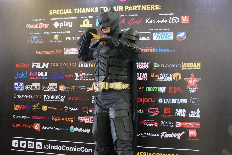 A Batman cosplayer attends the 2017 Indonesia Comic Con.